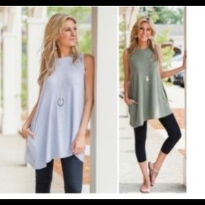 Olive Green Tunic Tank Size M